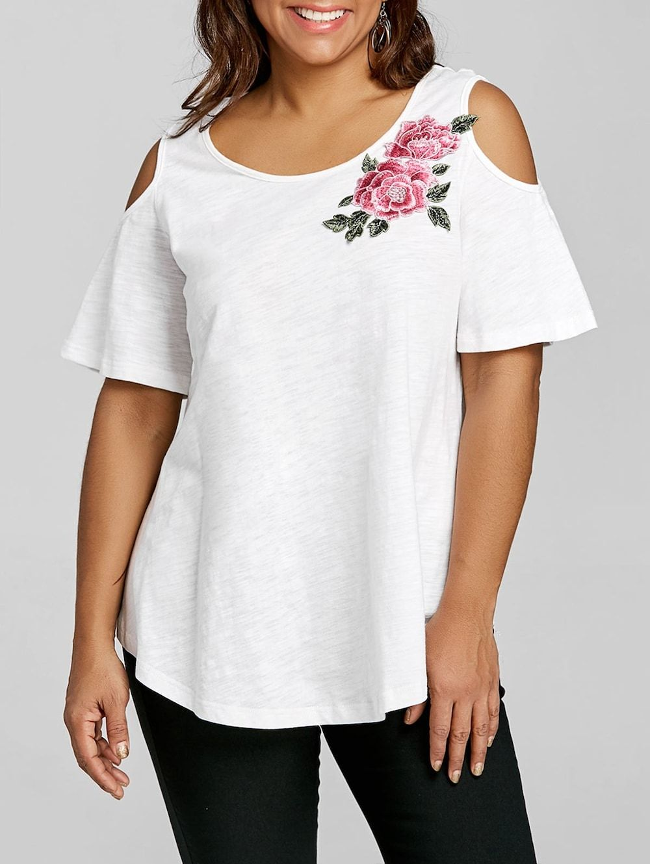 37871037a2f Plus Size Cold Shoulder Embroidery Appliqued T-shirt - White - 2xl ...