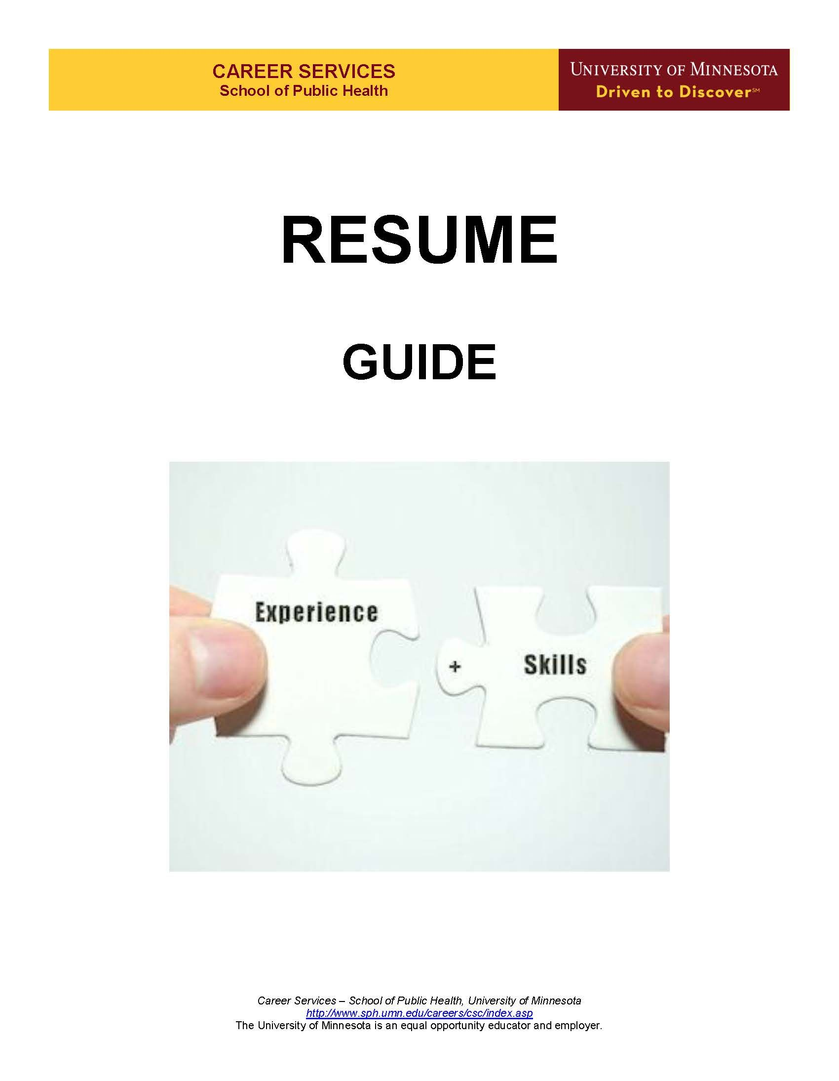 Resume Guide (Cover Page) Resume guide, Resume