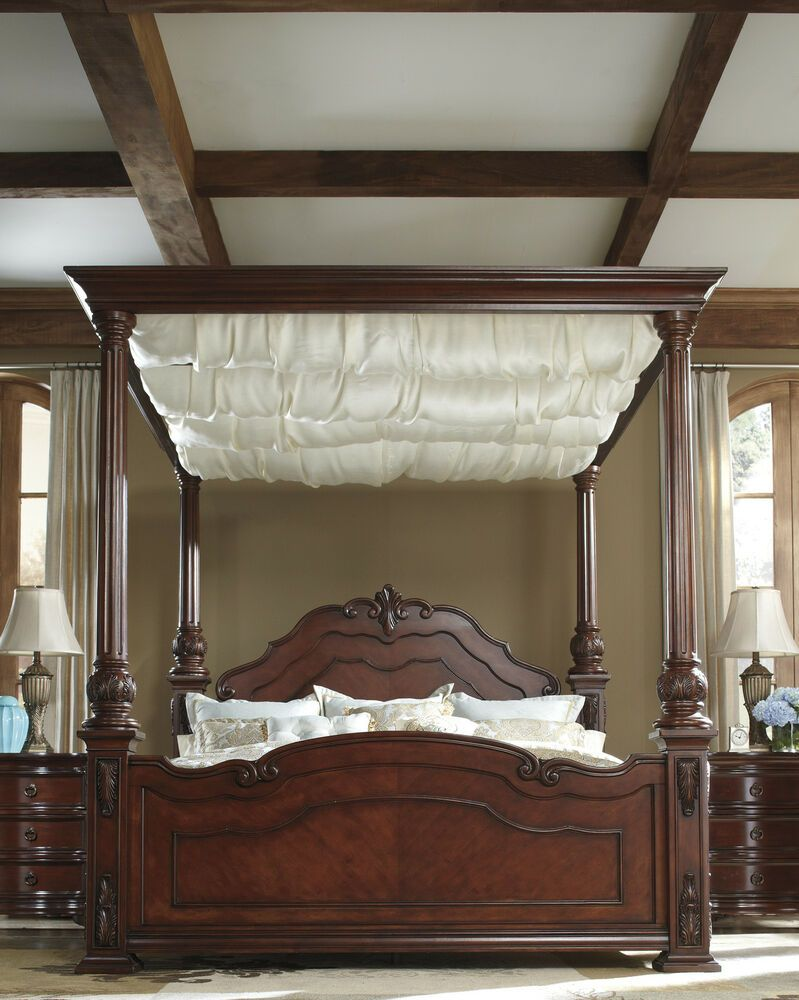 Ashley Martanny Elegant Queen Draped Canopy Bed Houston Elegant