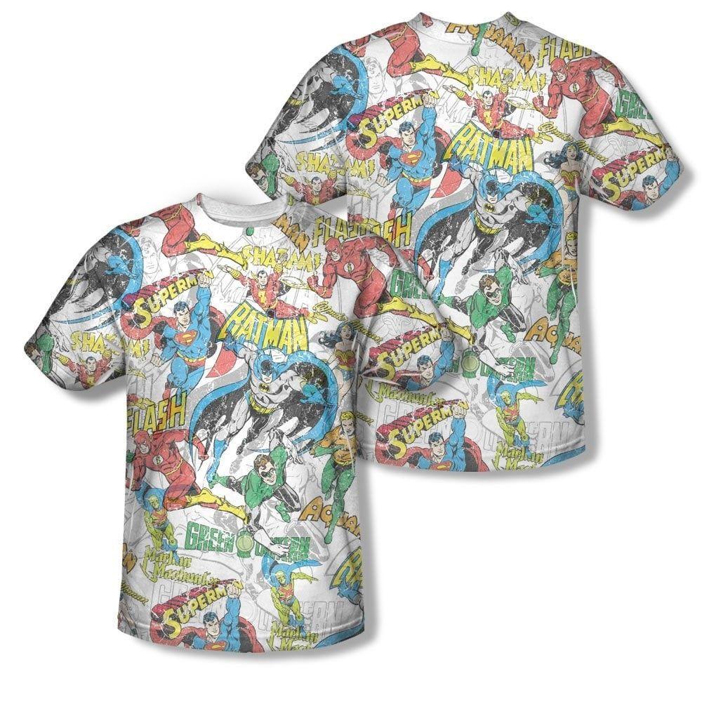 da9edd5d Dc Originals - Super Collage Adult All Over Print 100% Poly T-Shirt