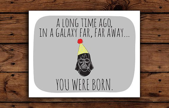 Star Wars Birthday Card Printable Darth By Somebodylovedshop