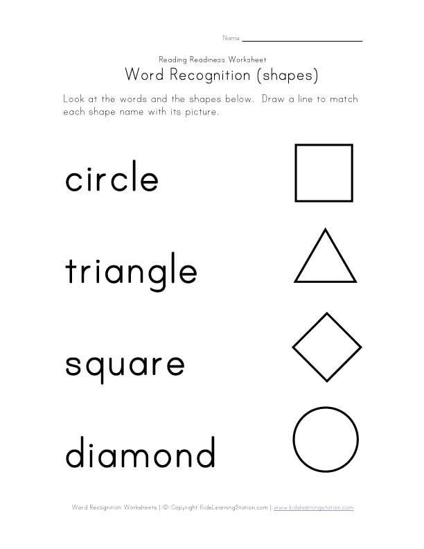 Kindergarten Worksheets shapes for kindergarten worksheets : распознавание слов листе формы | фигуры | Pinterest | Worksheets ...