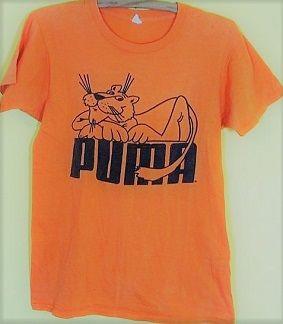 Vintage 70s Puma Cat Logo orange T-Shirt Tennis Shoes