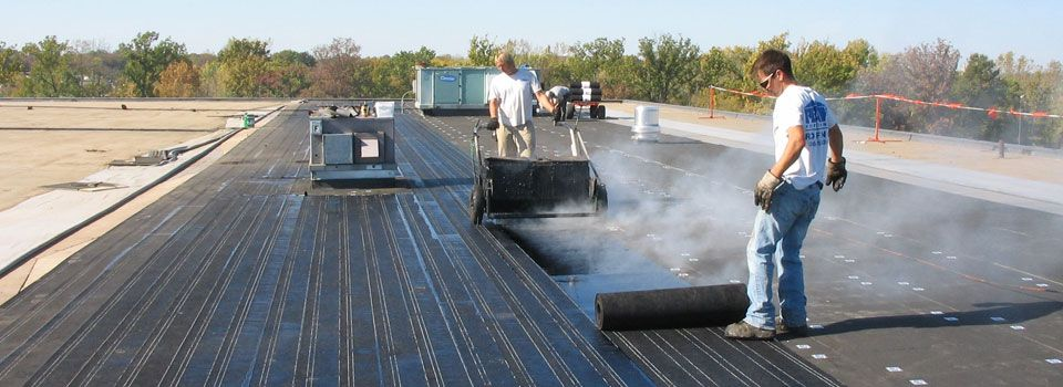 Hot asphalt built up roof systems commercial roofing