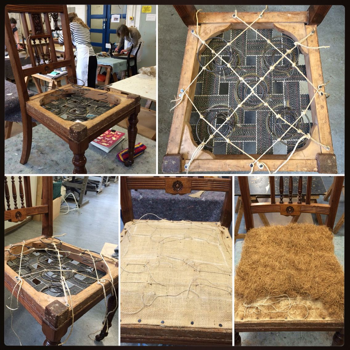 Sofa 8 Way Hand Tied Springs Sprung Dining Chair - Spring Lashing & Beginnings Of First