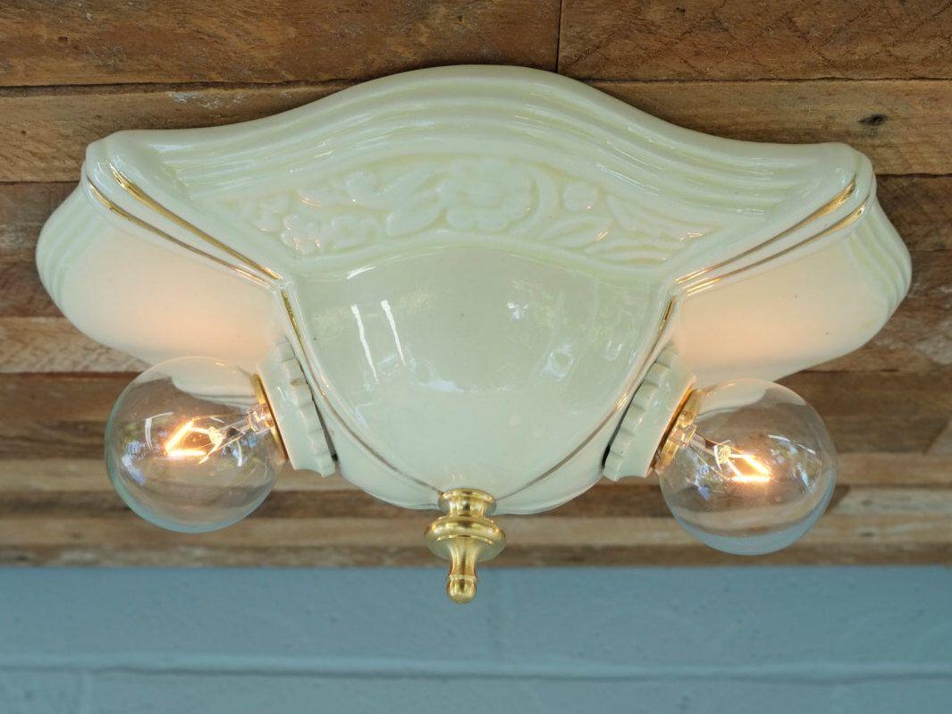 Vintage flush mount ceiling two light fixture porcelain porcelier vintage flush mount ceiling two light fixture porcelain porcelier ceramic rewired antique bedroom bathroom kitchen hall arubaitofo Gallery