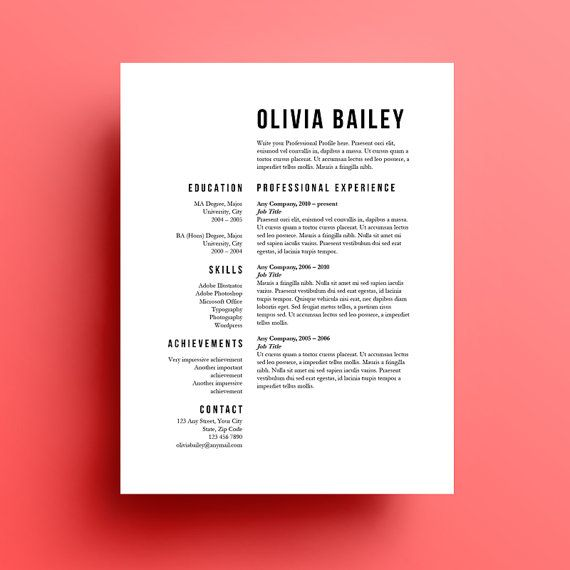 resume template cover letter instant download by
