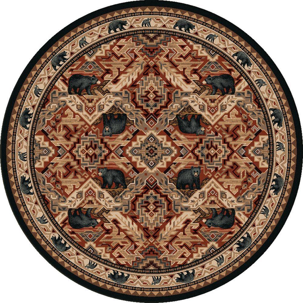 Black bear manor rug 8 ft round rugs black bear