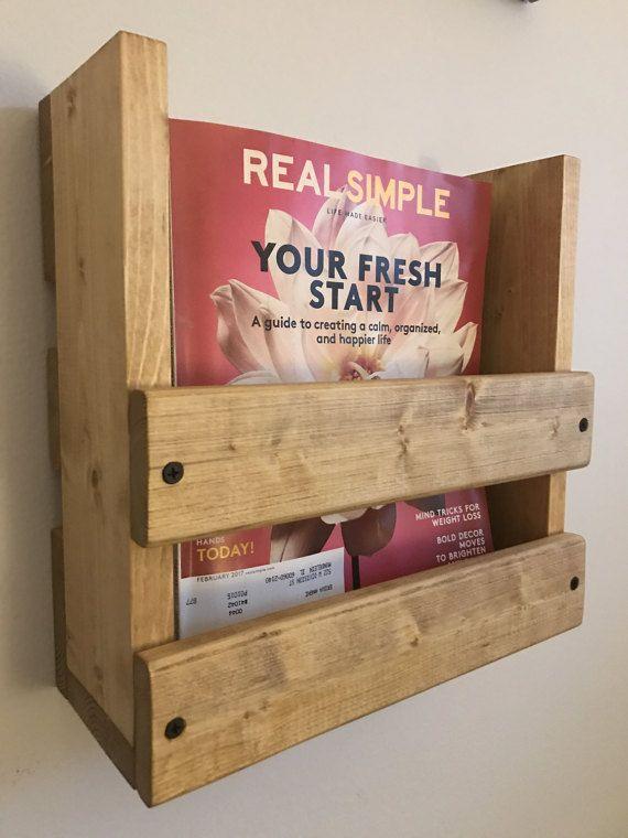 Magazine rack, Wall mounted magazine rack, Wood magazine ...