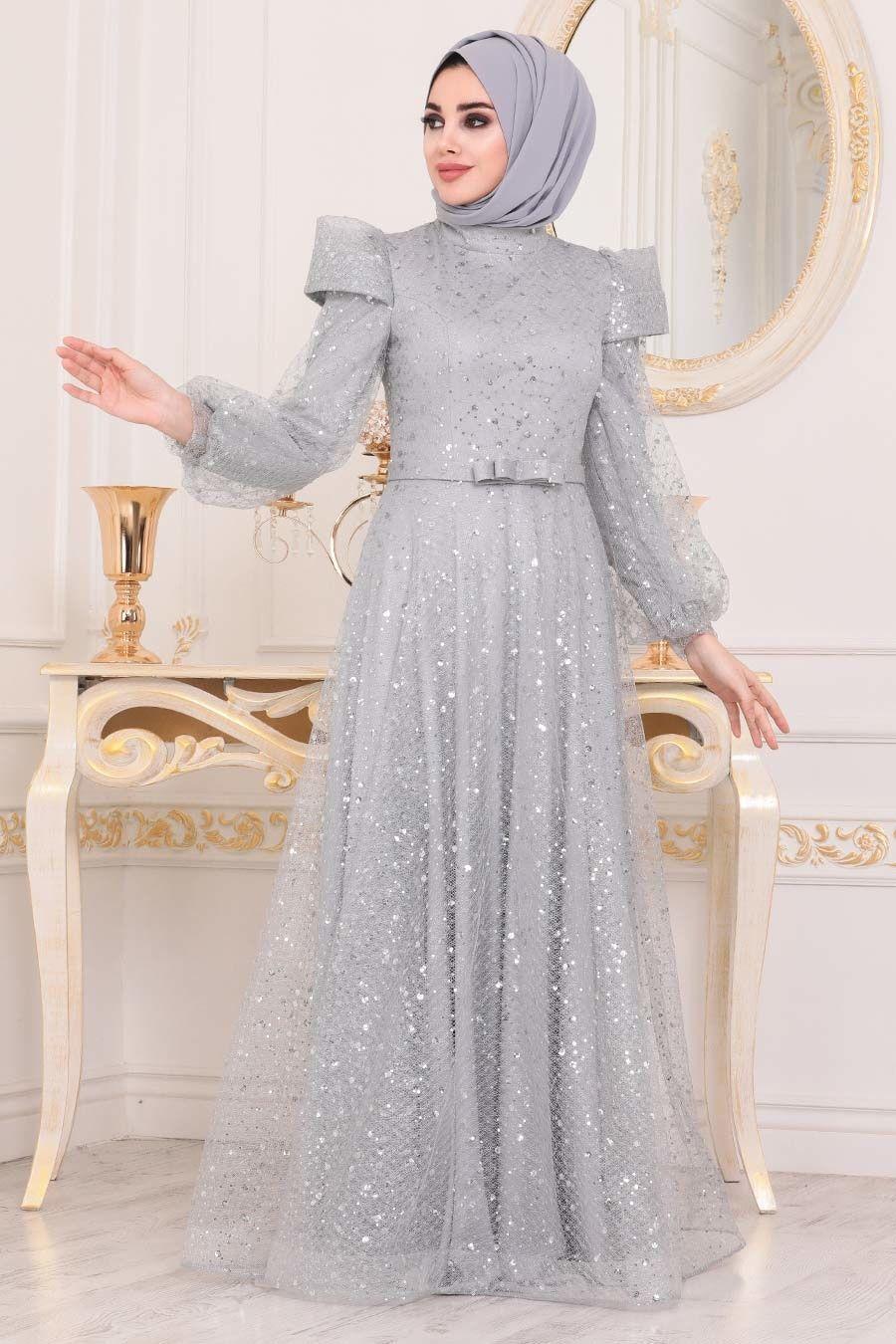 Tesetturlu Abiye Elbise Omuzlari Detayli Gri Tesettur Abiye Elbise 41071gr Tesetturisland Com 2020 Moda Stilleri The Dress Elbise