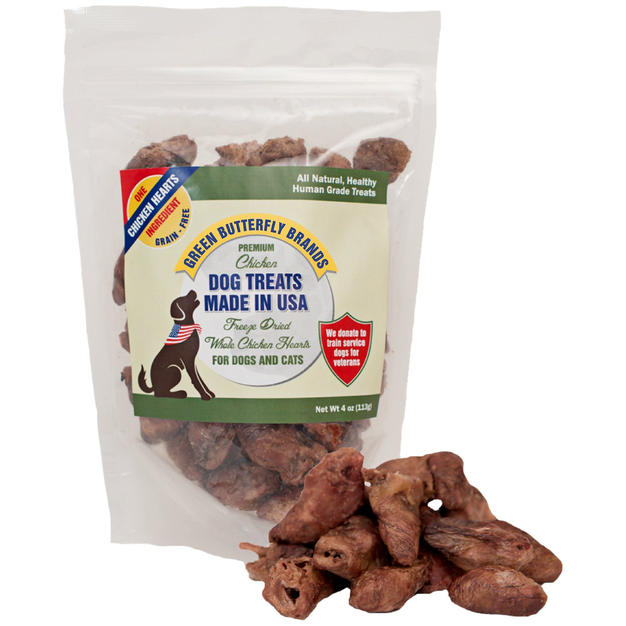 Green Butterfly Brands Freeze Dried Whole Chicken Hearts
