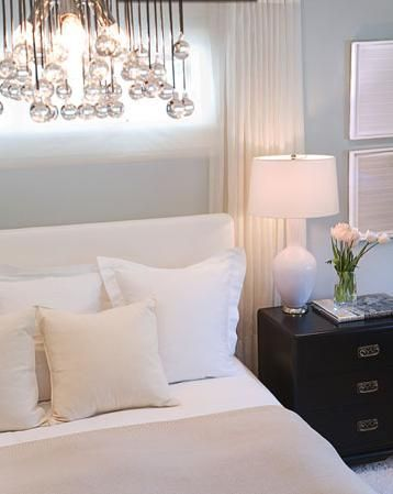 Calm Bedroom Blue Walls White Bedding And Black Brown Furniture