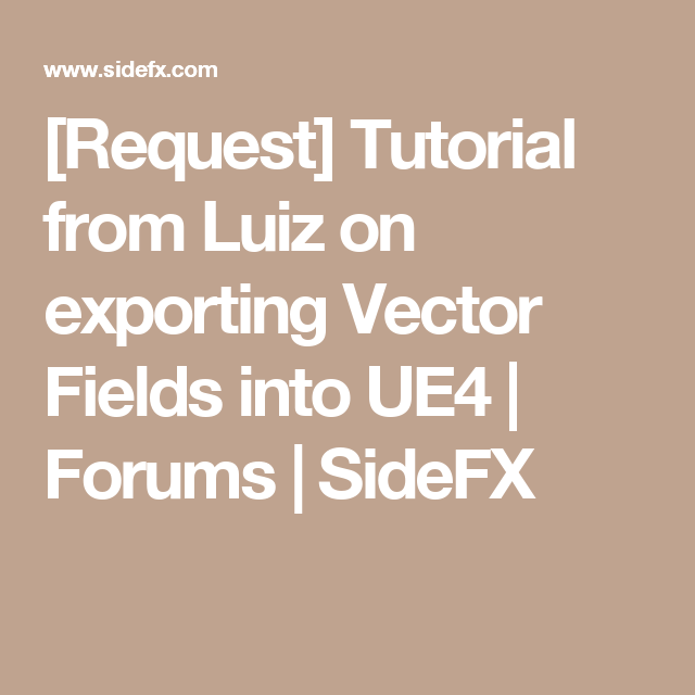 Request] Tutorial from Luiz on exporting Vector Fields into