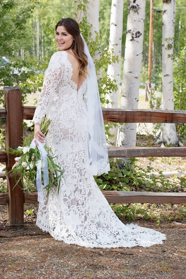 Lace Wedding Dress With Low V Back Long Sleeved Wedding Dress Boat Neckline Wedding Dress Boho Wedding Dress Dramatic Back Wedding Dress Wedding Dress Necklines Wedding Dress Sleeves Wedding Dresses Lace