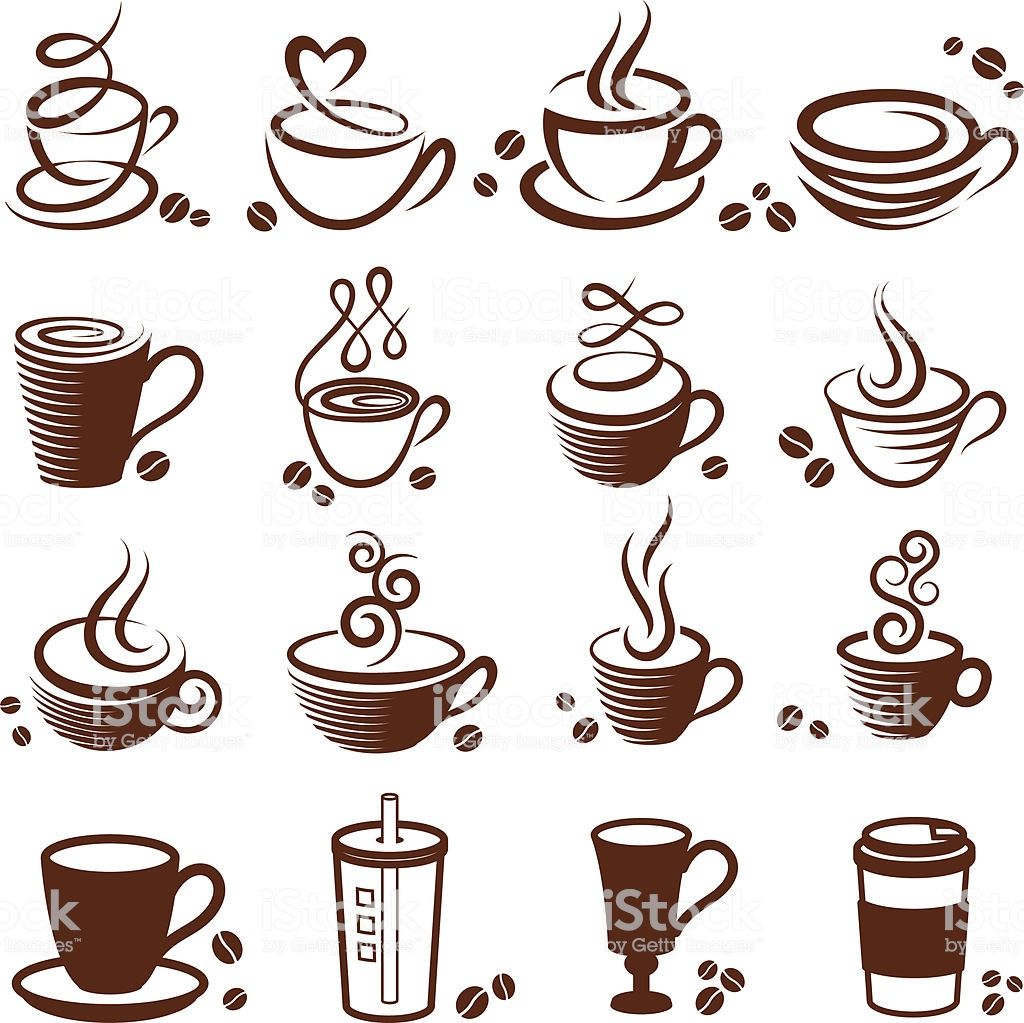 Coffee cup vector white icon set Tazas de cafe dibujo