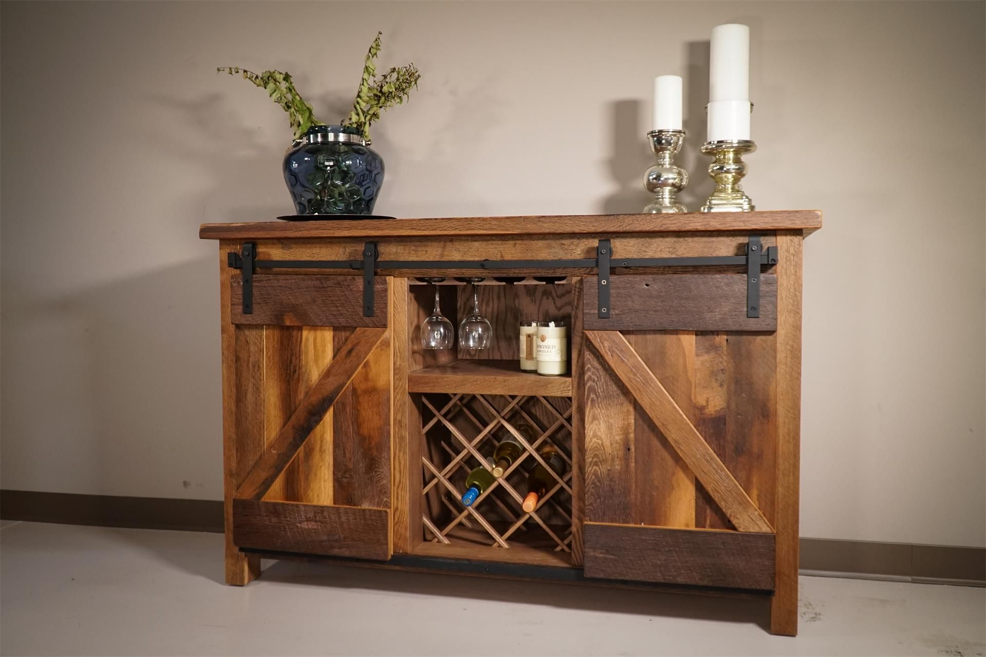 Pleasing Amish Reclaimed Oak Wood Sliding Barn Door Buffet Home Interior And Landscaping Spoatsignezvosmurscom