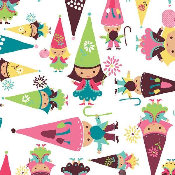 http://www.plushaddict.co.uk/camelot-fabrics-fairyville-white-gnomes.html Camelot Fabrics - Fairyville White Gnomes - cotton fabric