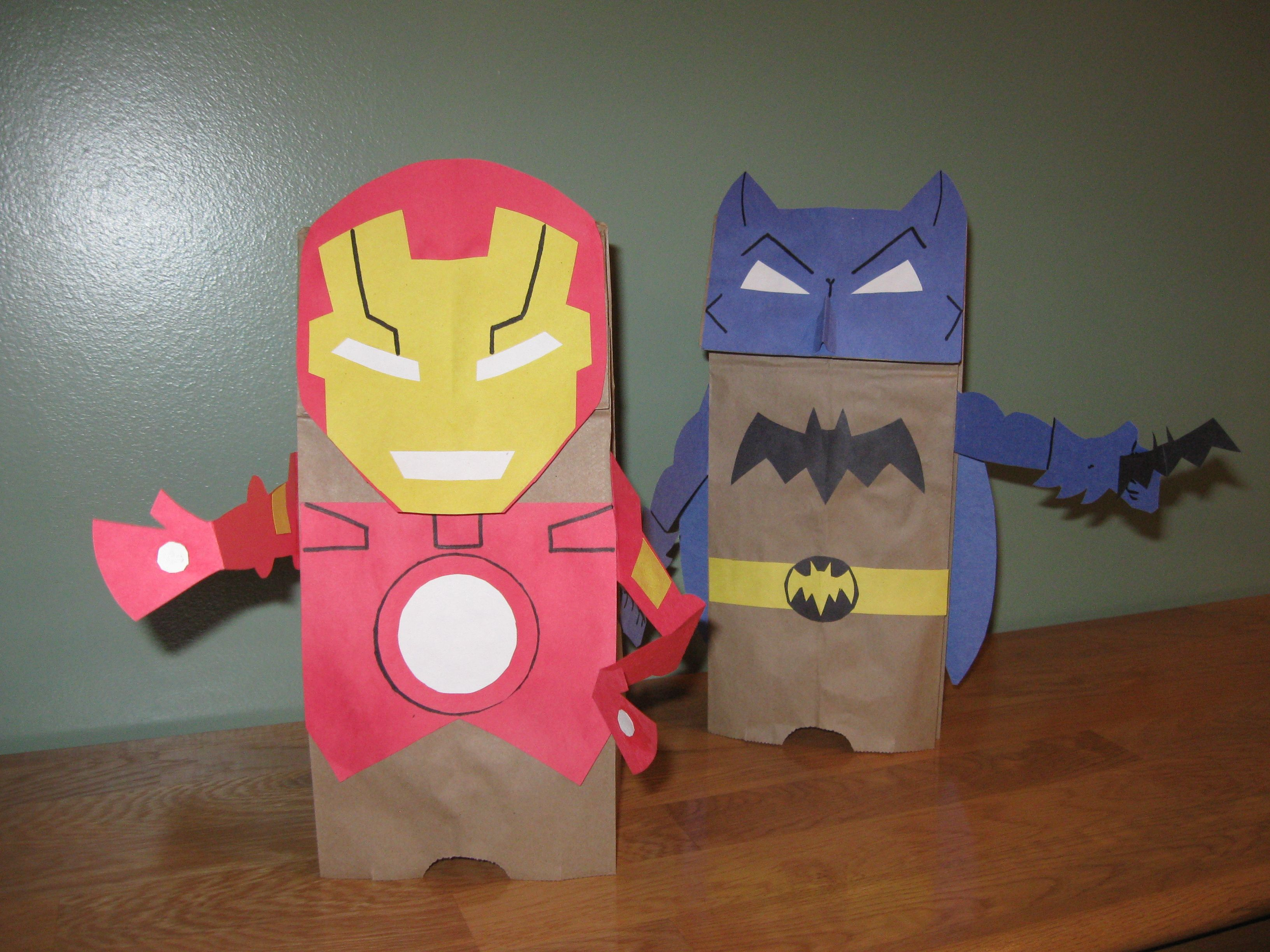 Iron Man And Batman Brown Paper Bag And Construction Paper