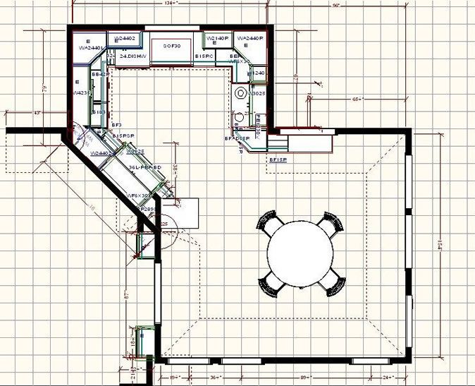 Kitchen Floor Plan With Dining Area. I Think The Diagonal Wall In This Is  Very