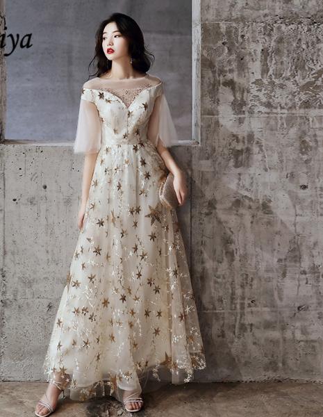 Elegant Half Sleeve Stars Tulle Dress In 2020 Tulle Dress Dresses Fashion