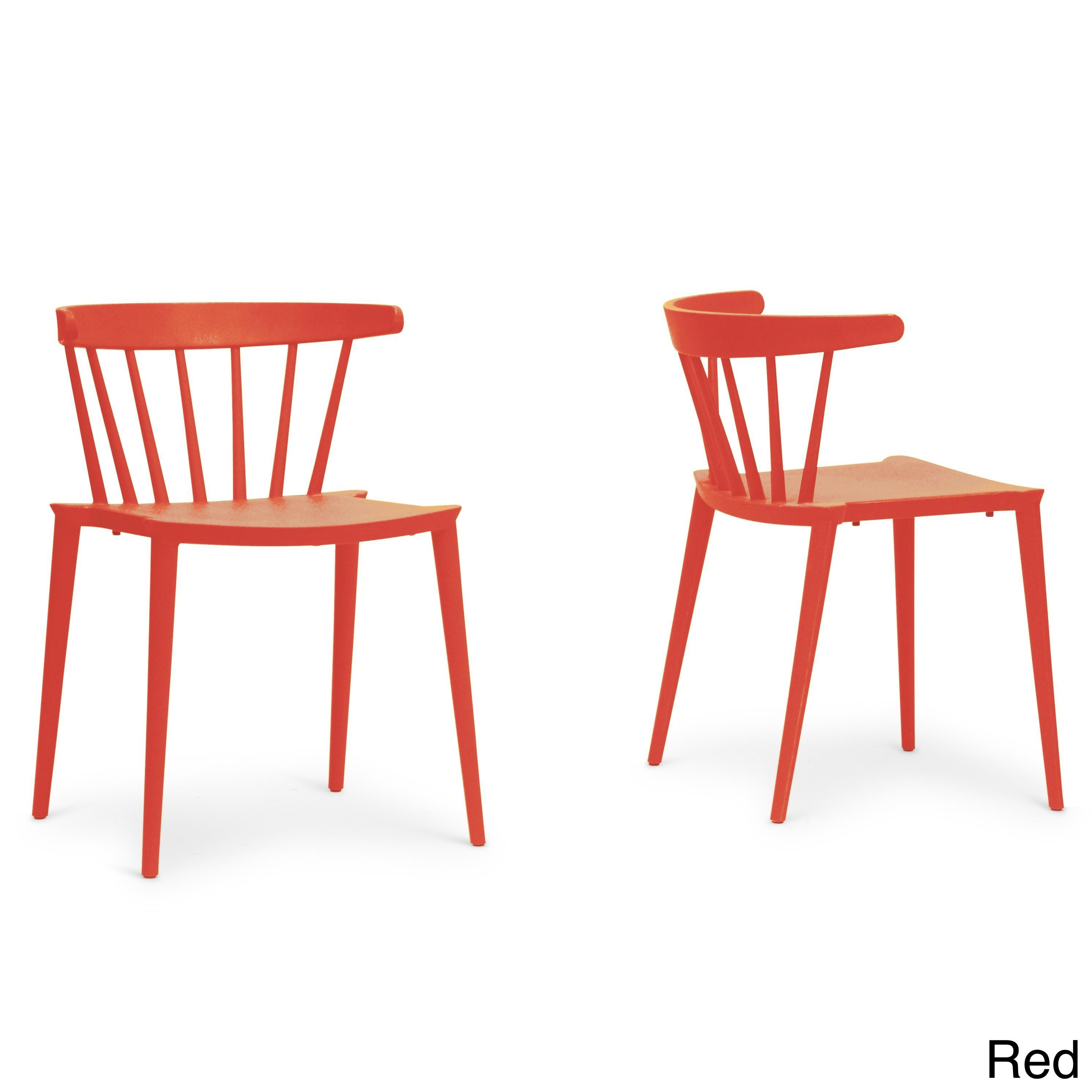 Stacking Dining Room Chairs: Baxton Studio Finchum Red Plastic Stackable Modern Dining