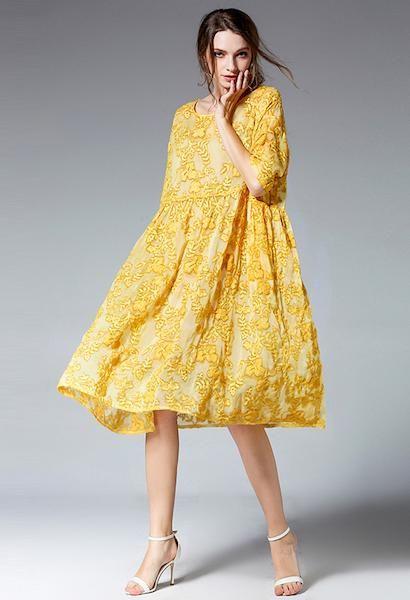 e7dbc6e75cb2ab Top Design Two Pieces Set Vintage Lace Dress Female Half Sleeve Loose Dress  3XL 4XL Plus Size Women Dress Yellow Pink Color