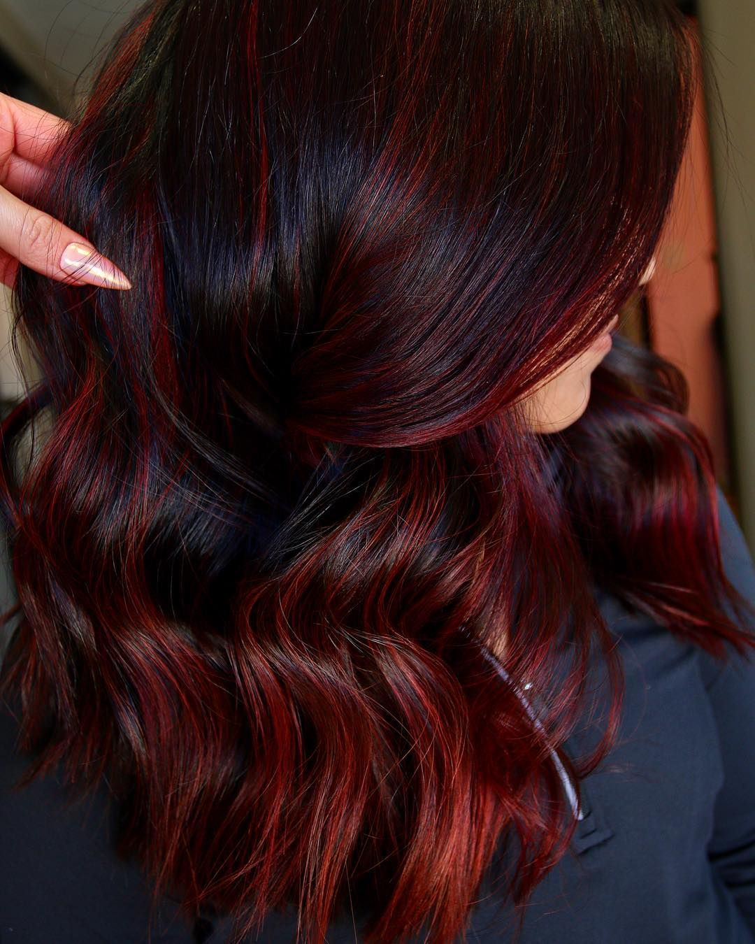 Level 3 Dark Hair With Red Highlights Red Highlights In Brown Hair Red Balayage Hair Dying Hair Red