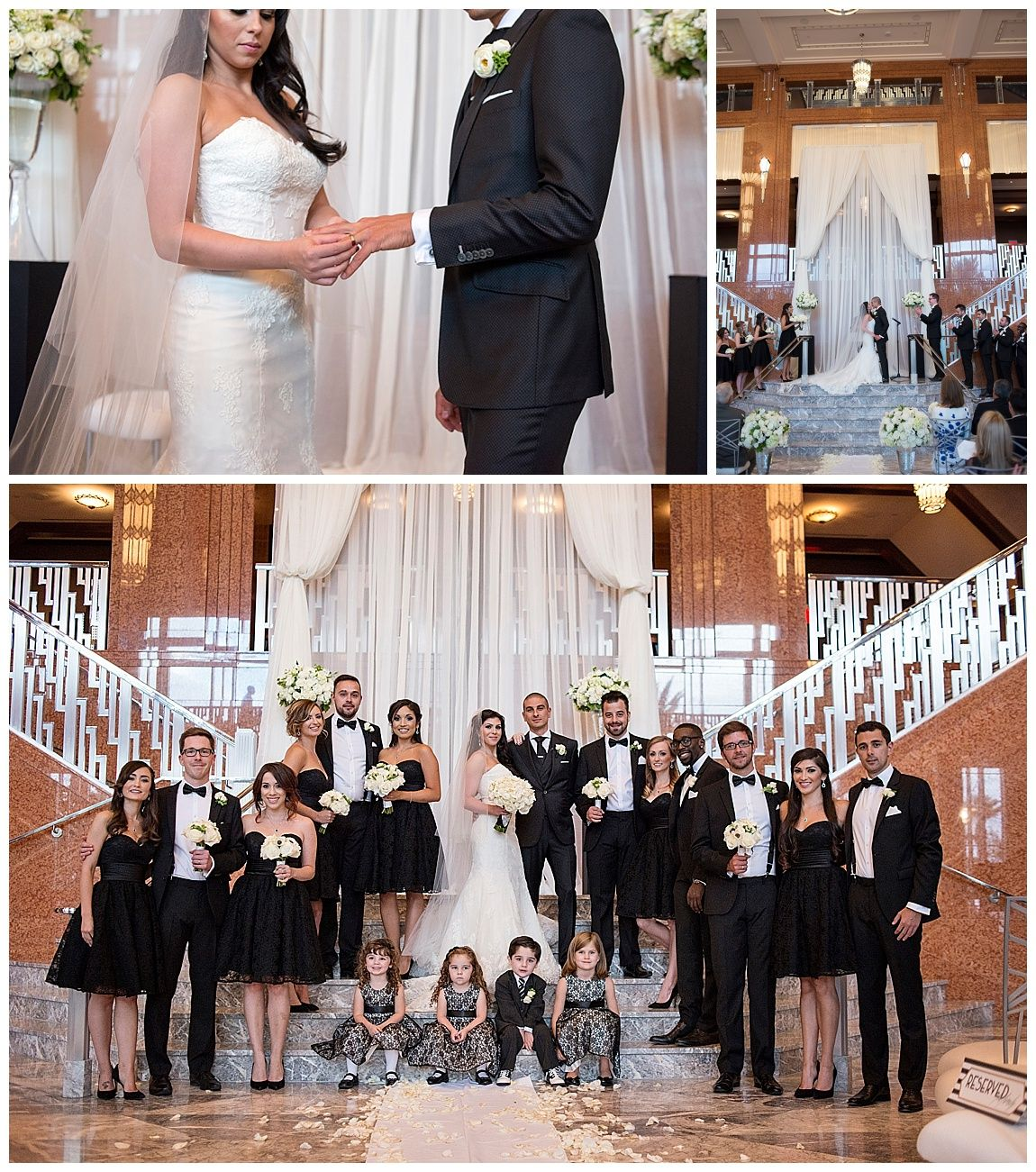 The Smith Center Wedding Las Vegas Planner Black Bridesmaid Dresses Stairway Altar