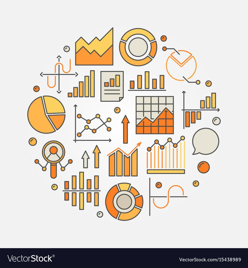Statistics And Data Analysis Colorful Royalty Free Vector