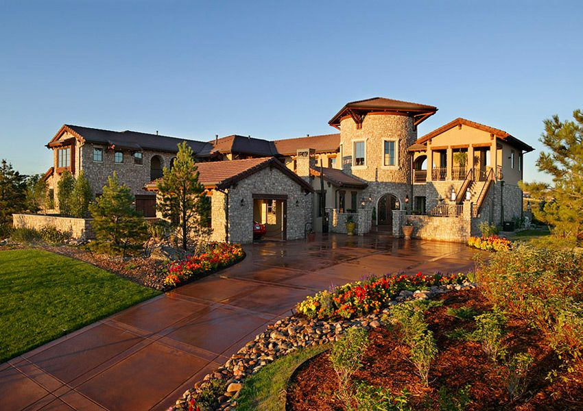 Mediterranean style stone leading denver residential Tuscan home floor plans