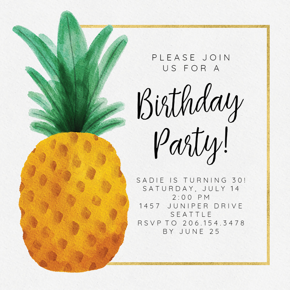 Watercolor Pineapple Birthday Invitation Template Free Greetings Island Birthday Invitations Diy Birthday Invitation Templates Party Invite Template