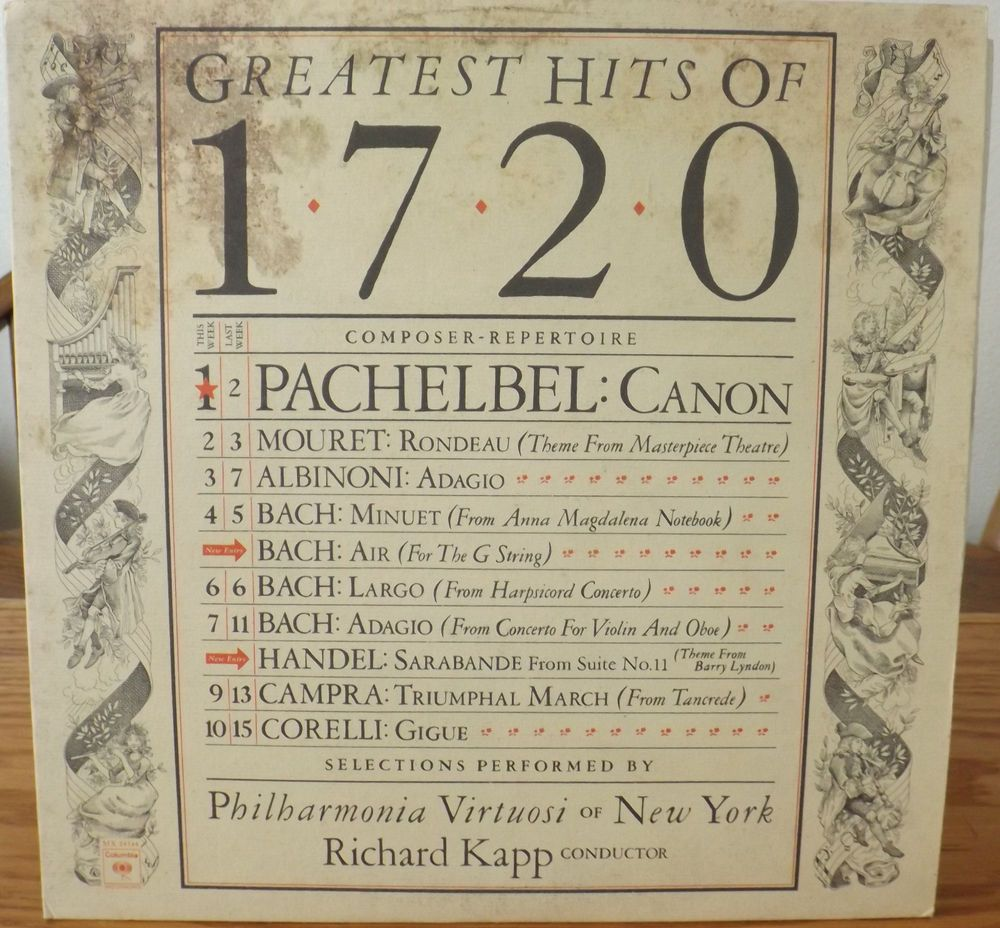 GREATEST HITS OF THE 1720 LP/ PACHELBEL, BACH, CORELLI