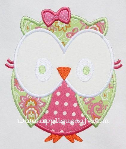 Applique Cafe - Girly Owl Applique