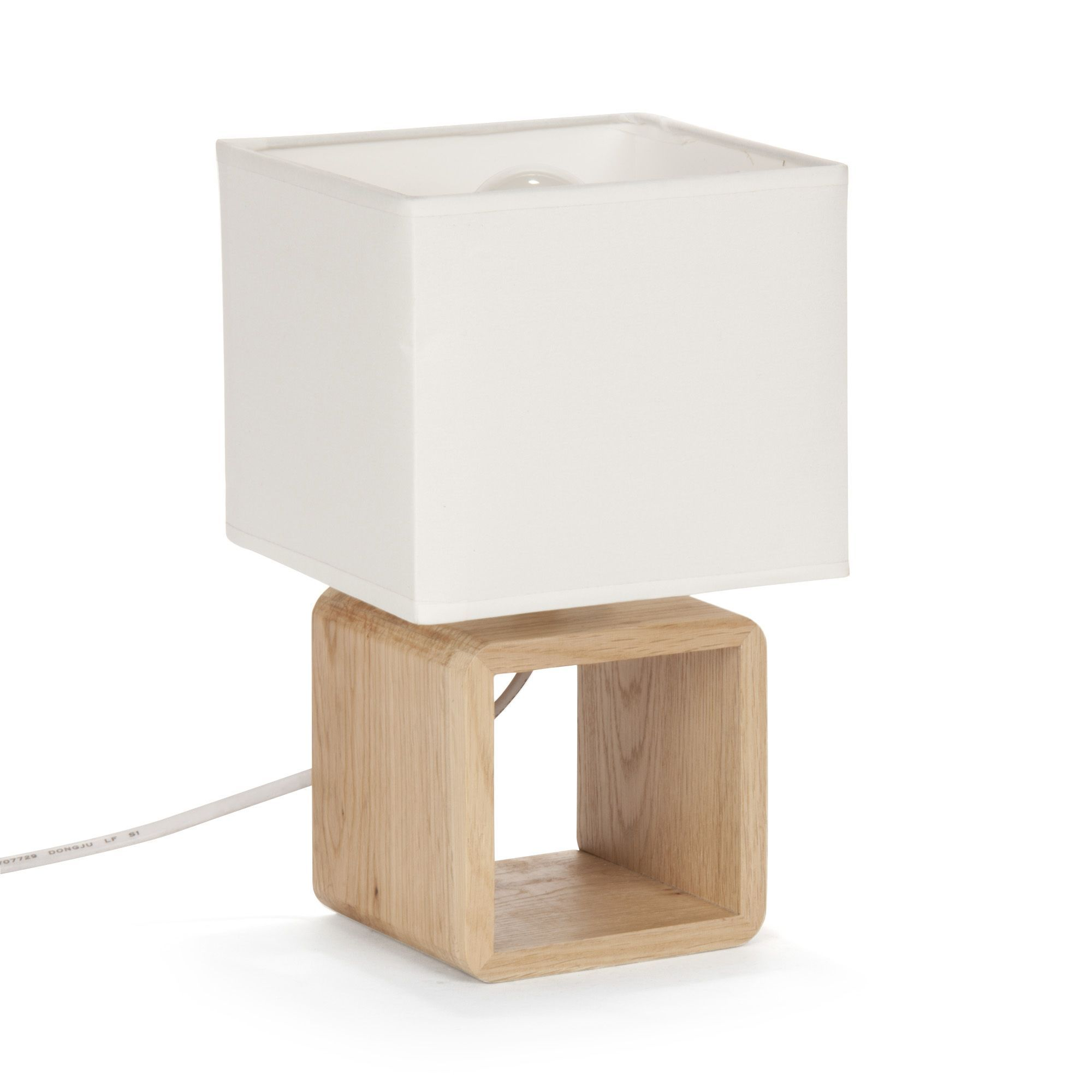 cubo lampes poser luminaires lampe de chevet en bois blanc h25cm for the home pinterest. Black Bedroom Furniture Sets. Home Design Ideas