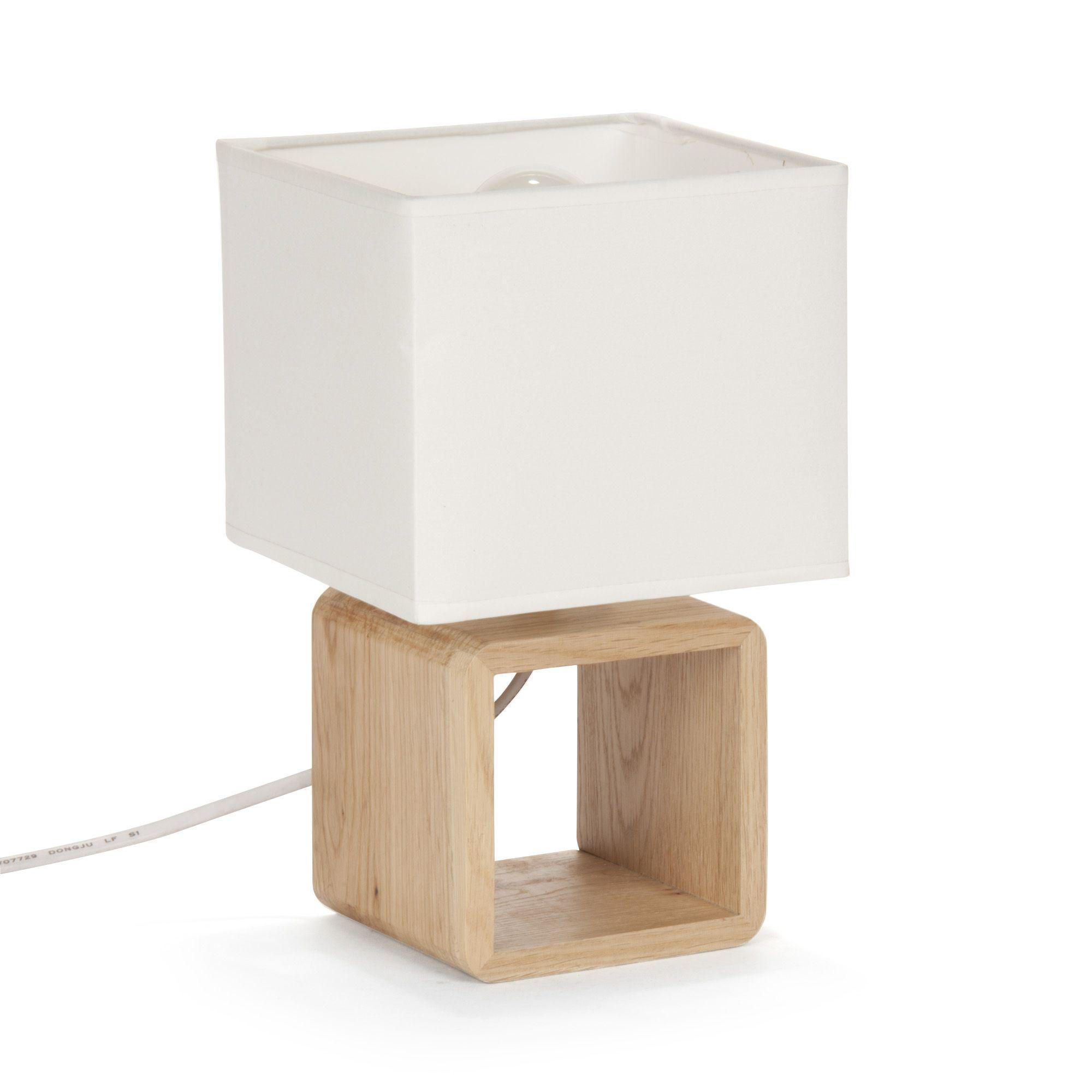 Cubo Lampes  poser Luminaires Lampe de chevet en bois BLANC H25cm