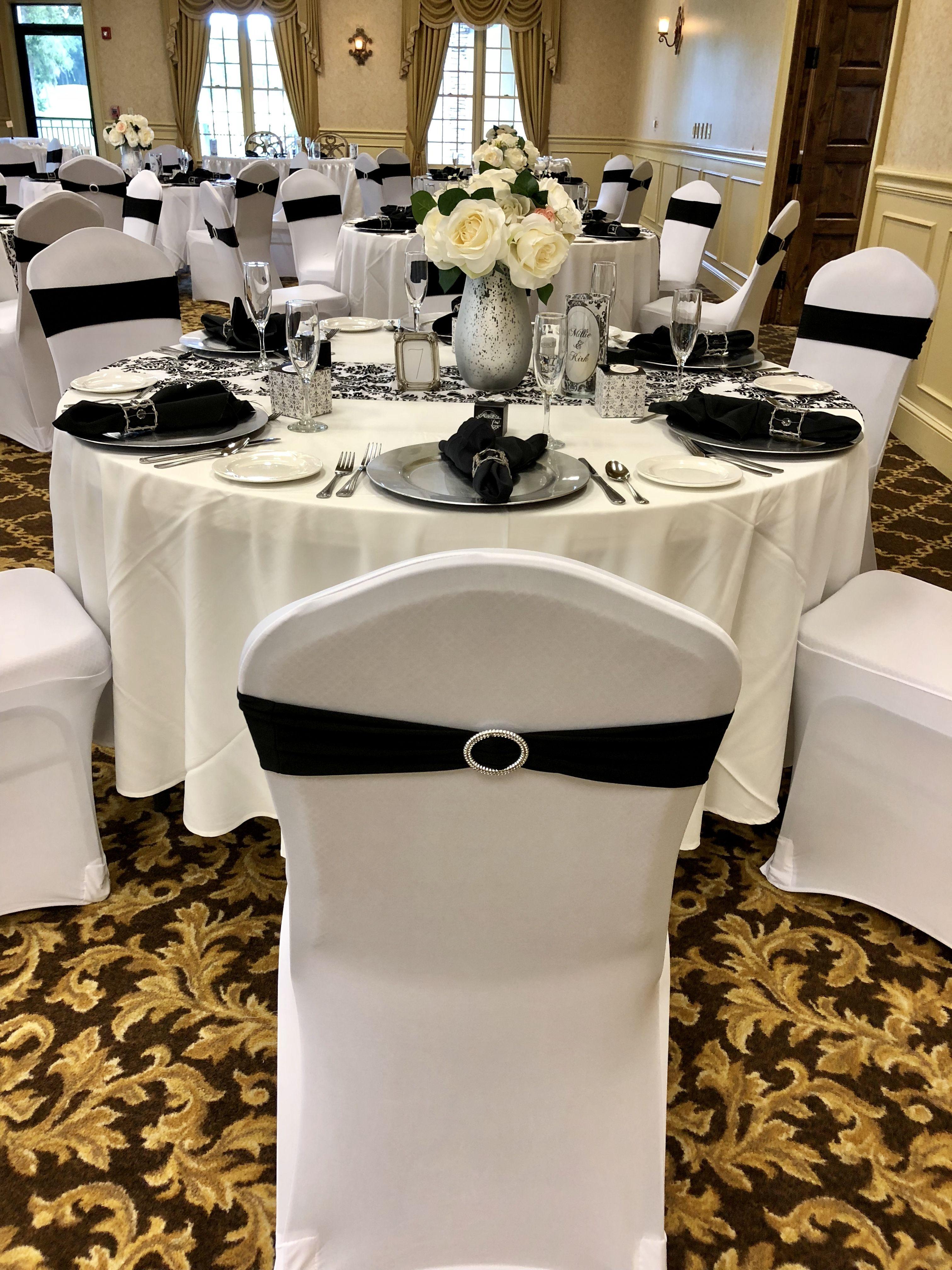 Black White Damask Runner With White Tablecloths White Spandex