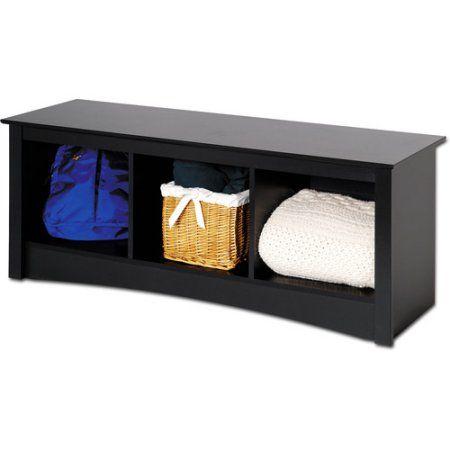 Brisbane Cubbie Bench, Black - Prepac Furniture - Walmart.com | Home ...