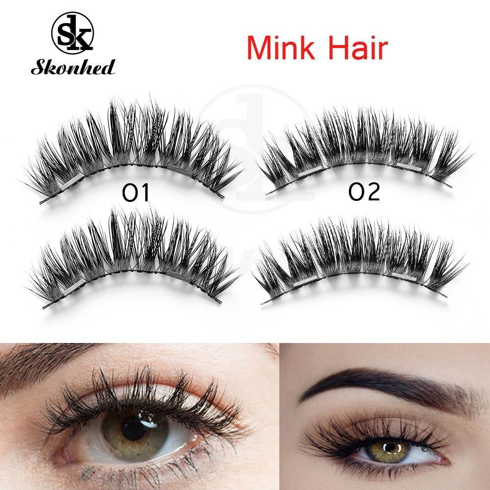 03379913acb Magnetic False Eyelashes 3D Natural Eye Lashes Extension Handmade 4Pcs/2  Pairs. Magnetic False