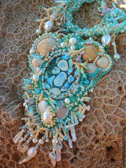 """Pendants handmade.  Pendant """"Sea garden"""" or """"Sea Garden"""".  Helen Noel.  Shop Online Fair Masters."""