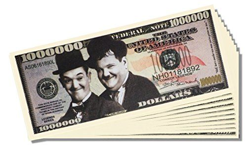 10 Count Laurel and Hardy Novelty Million Dollar Bill - with Bonus Clear Protector and Bonus Bill *** Want additional info? Click on the image.