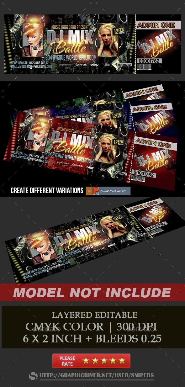 Dj Mix Battle Ticket – Ticket Size Template