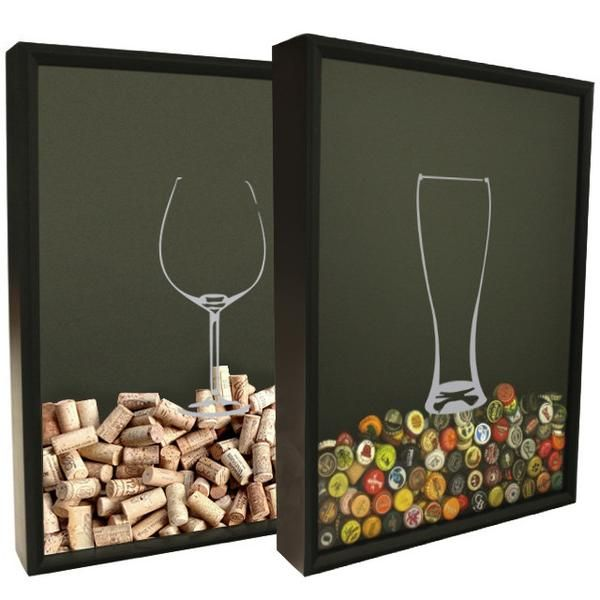 This Set Features Beer And Wine Glass Silhouette Graphics On 16 By 20 Inch Shadow Box Frames Customize Cadre Bouchon Liege Decoration Palette Bouchons De Liege