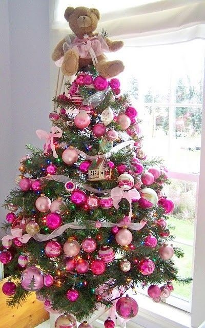 Tannenbaum Pink.Pink Christmas Tree With Teddy Bear Topper O Tannenbaum Pink