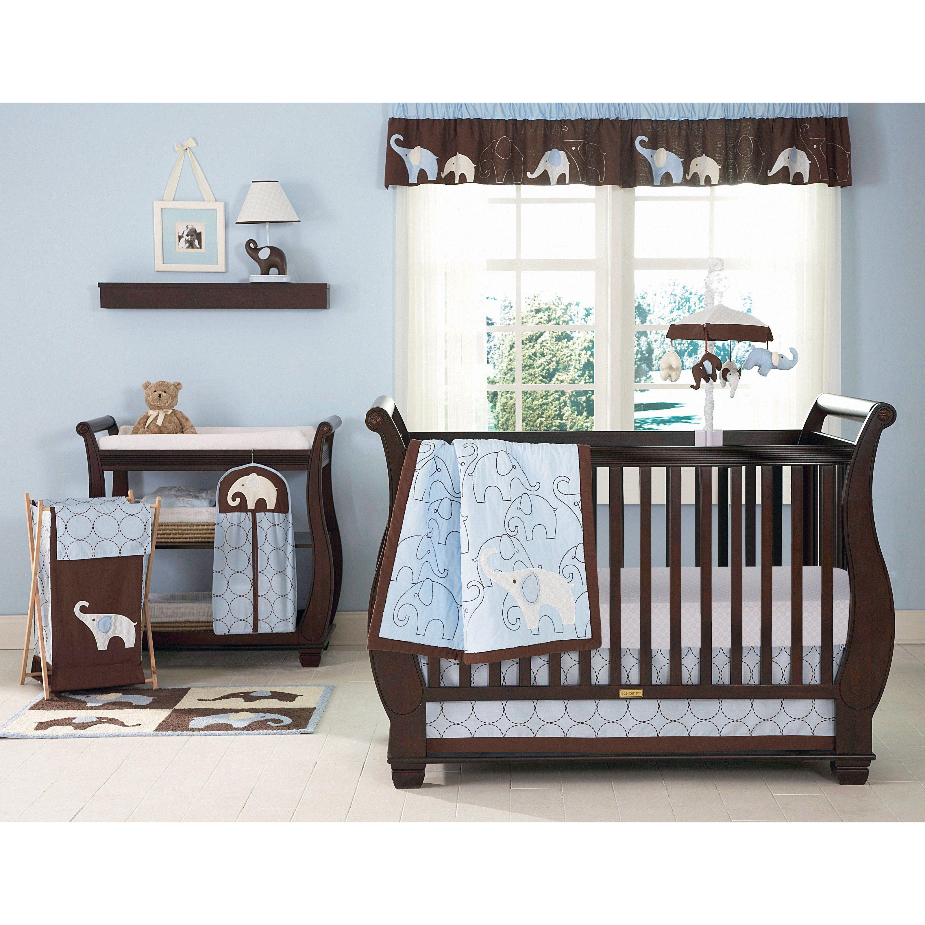 Carter S Blue Elephant 4 Piece Crib Set Www Hayneedle Com Baby