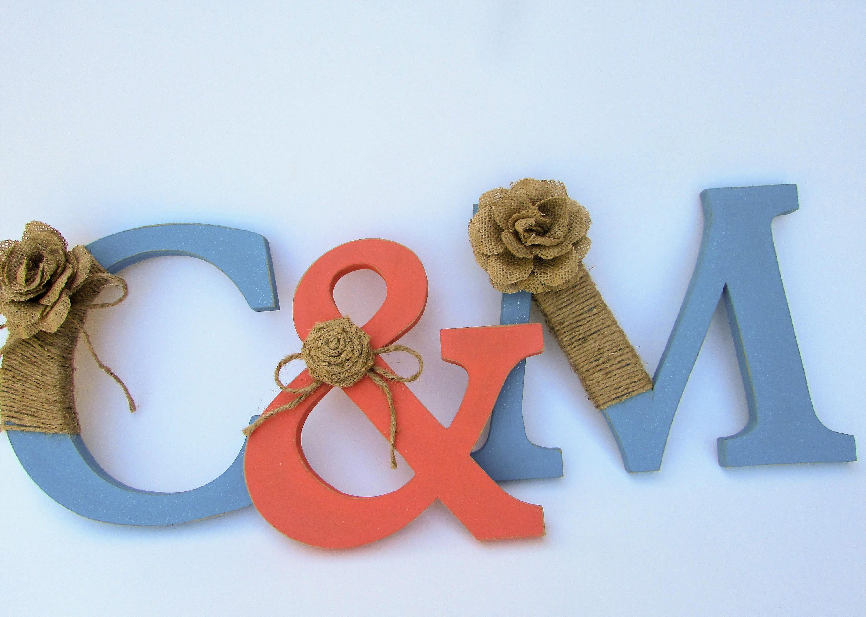 Rustic Letters C M Burlap Wedding Decor Shower Photo Prop Turquoise By