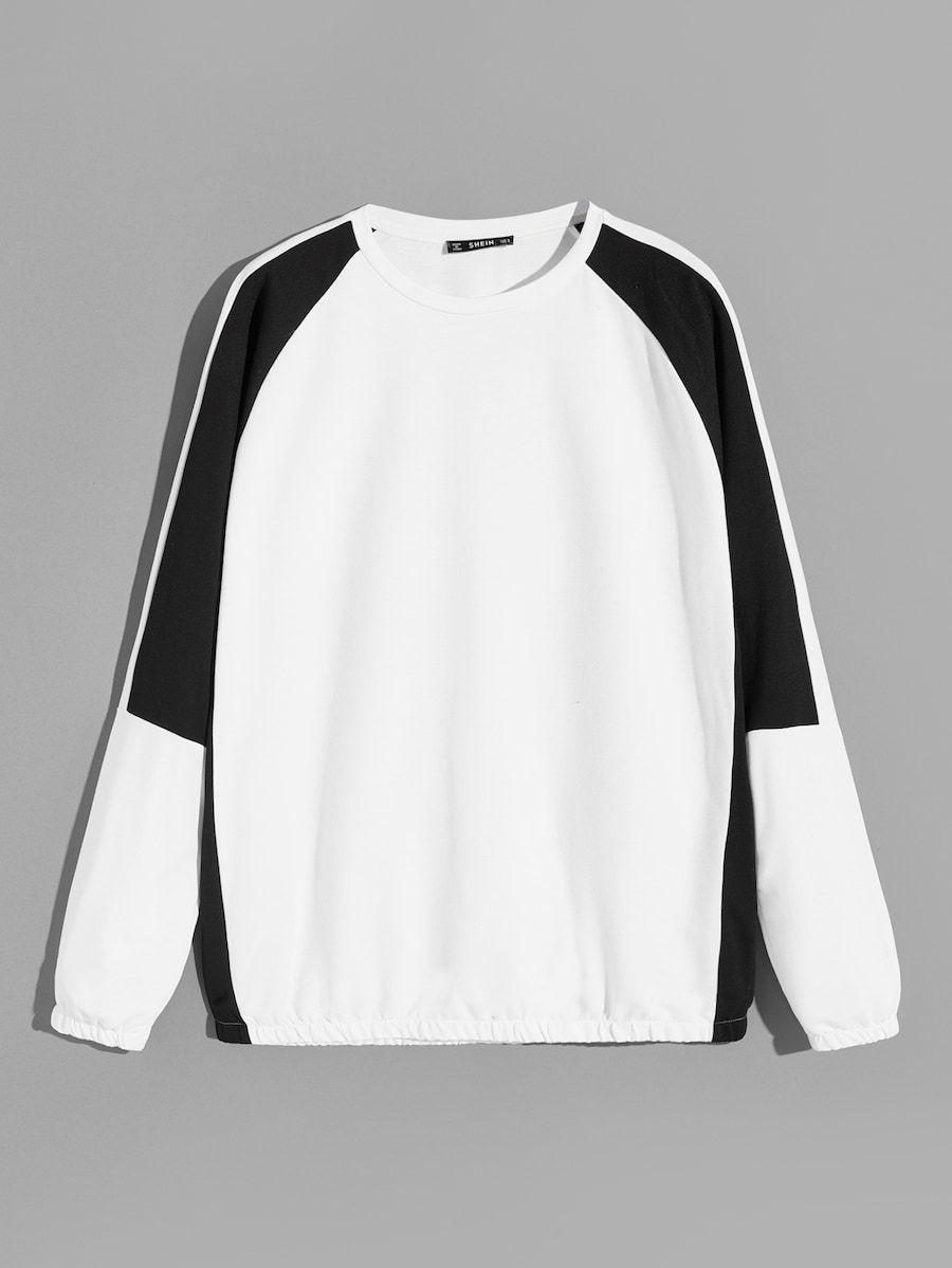 Men Elastic Cuff And Hem Two Tone Sweatshirt Shein Sheinside Sweatshirt Fashion Sweatshirts Mens Sweatshirts [ 1199 x 900 Pixel ]