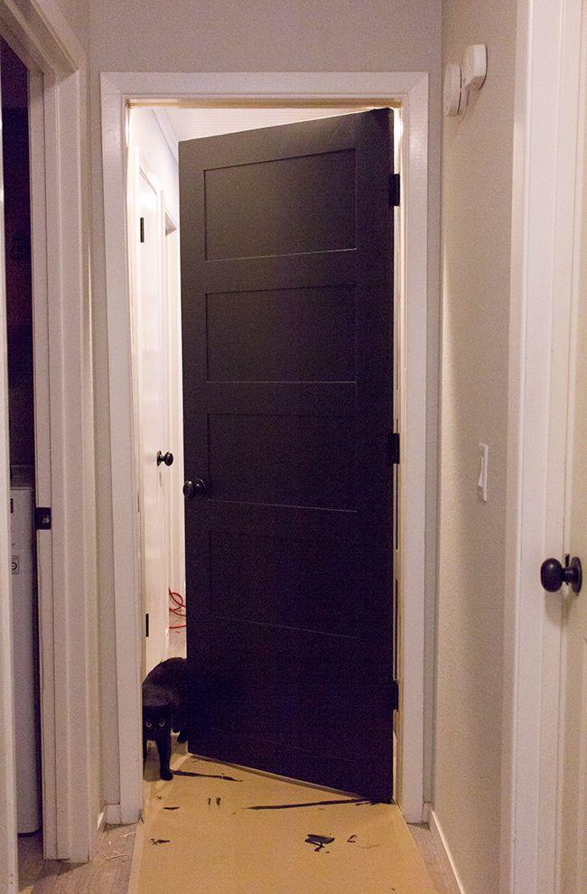 Master Makeover Diy Plain To Paneled Door Door Makeover Diy Door Makeover Hollow Core Doors