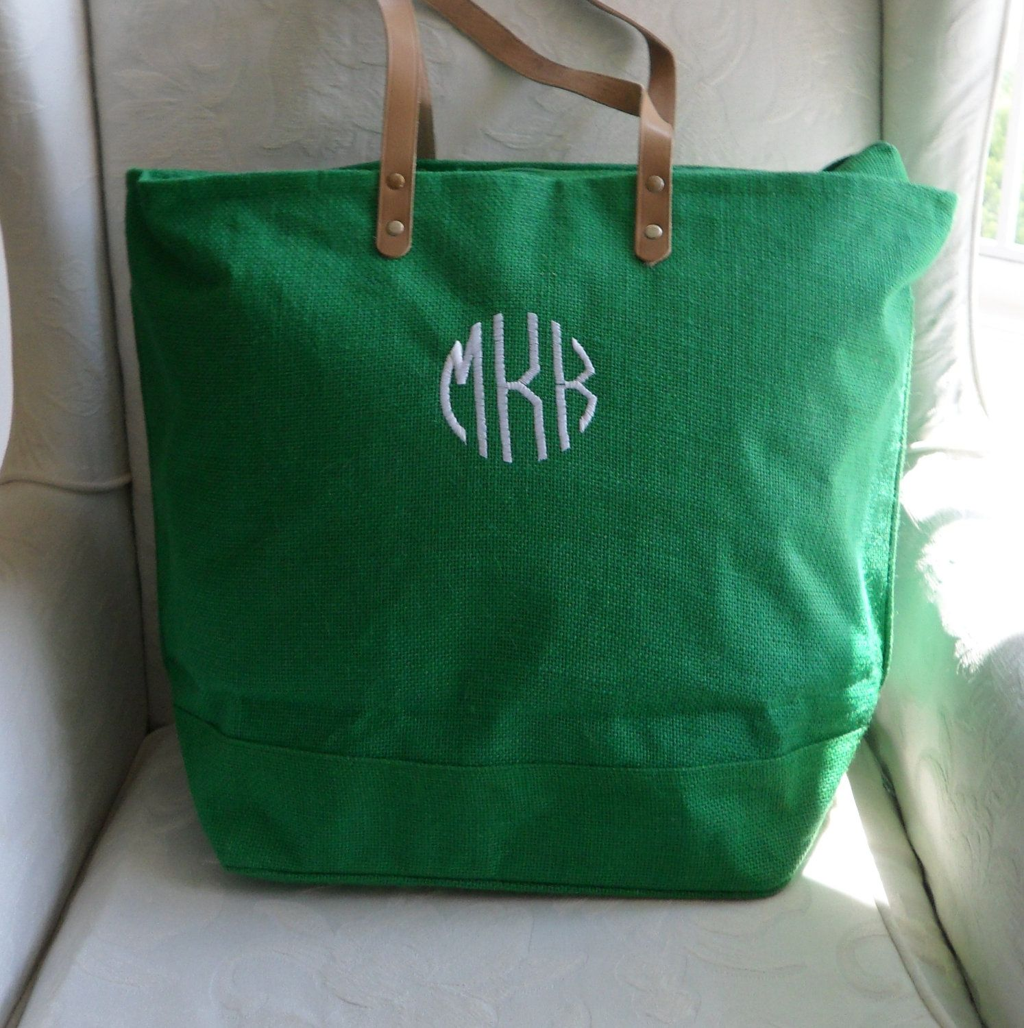 Monogram Kelly Green Jute Tote Bag