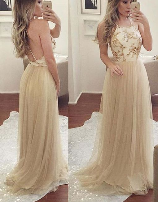 Simple A Line Halter Champagne Tulle Long Promevening Dress
