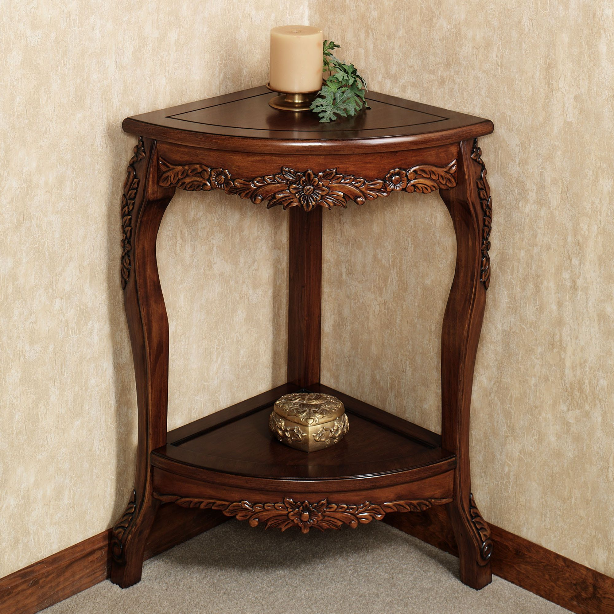 - Victoriana Corner Pedestal TableNatural Cherry Corner Table